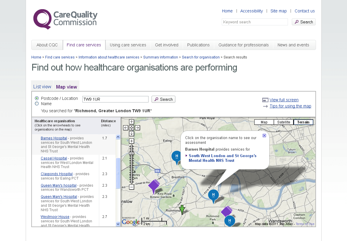 CQC Healthcare Directory